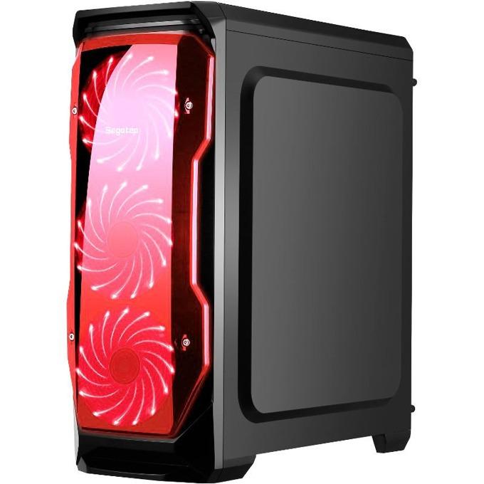 Кутия Segotep HALO 1, ATX/mATX, 1x USB 3.0, 2x 120mm вентилатори с червена подсветка, черна, без захранване image
