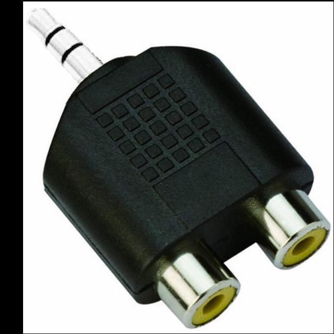 Преходник VCom CA501, 3.5mm Jack(м) към 2x RCA Chinch(ж), черен image
