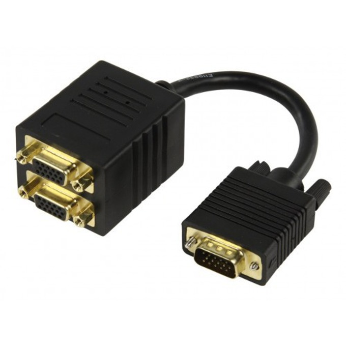 Преходник DeTech, VGA(м) към 2х VGA(ж), черен image