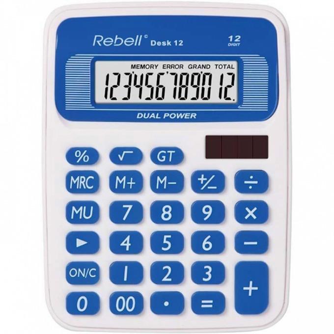 Калкулатор Rebell DESK12 stylish, 12 заряден дисплей, бяло/син image