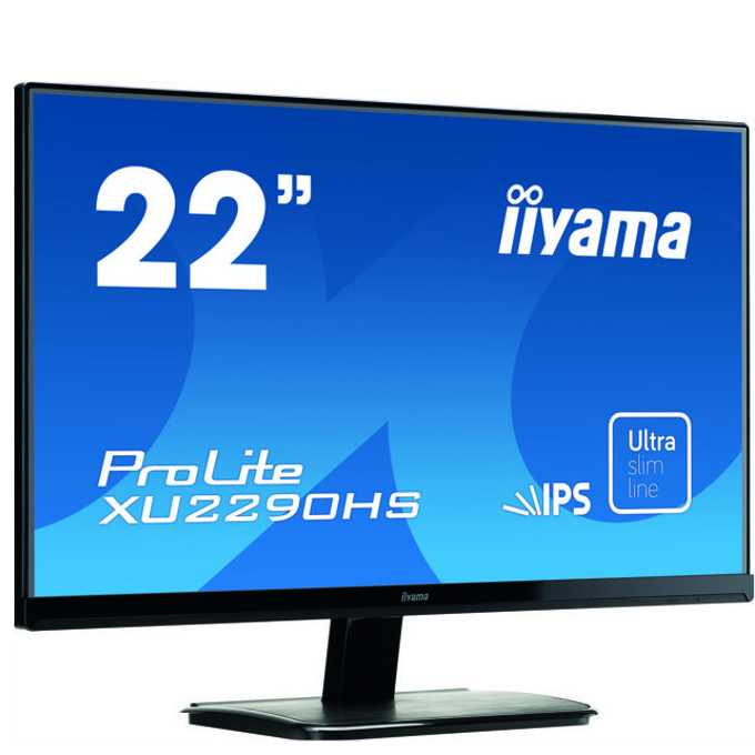 """Монитор 21.5"""" (54.61 cm) Iiyama ProLite XU2290HS-B1, IPS панел, FULL HD LED, 5ms, 5 000 000:1, 250 cd/m2, HDMI & DVI, колонки, TCO 6 image"""