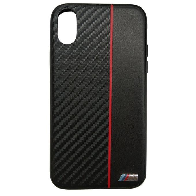 Калъф Apple iPhone X, страничен протектор с гръб, висококачествена еко кожа и поликарбонат, BMW M Collection Hard Case, Shock Absorbent, черен image