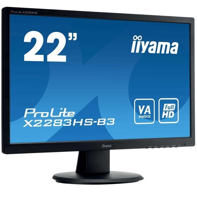 "Монитор Iiyama Prolite 2283HS-B3, 21.5""(54.61 cm) VA панел, FHD, 4ms, 80000000:1, 250 cd/㎡, HDMI, Display Port, VGA image"