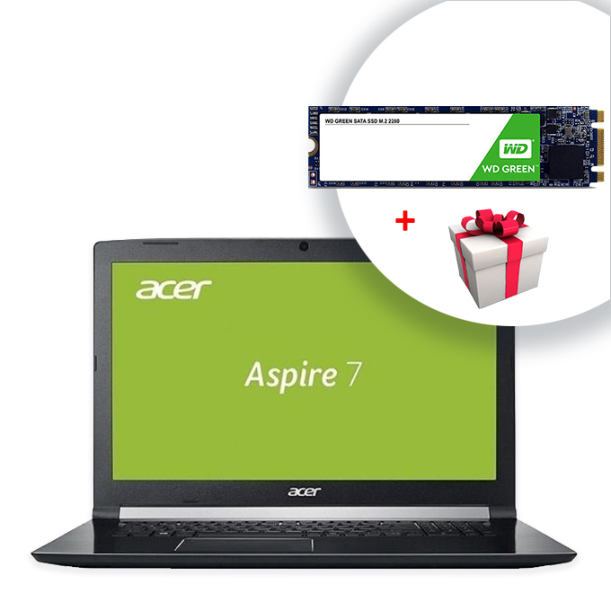 "Лаптоп Acer Aspire 7 A717-72G-74B2 (NH.GXDEX.048) с подарък 240GB SSD WD Green, шестядрен Intel Core i7-8750H 2.2/4.1GHz, 17.3"" (43.94 cm) FHD Anti-Glare LED ComfyView Display & GeForce GTX 1050 4GB, (HDMI), 8GB DDR4, 1TB HDD, USB C, Linux, 3.0 kg image"