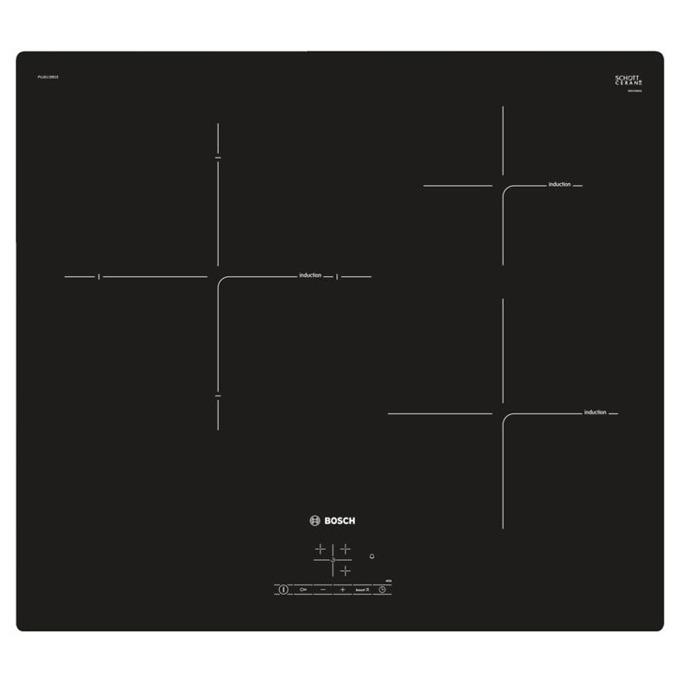 Стъклокерамичен плот за вграждане Bosch PUJ 611 BB 1E, 3 нагревателни зони, 17 нива на мощност, сензорно управление, черен image