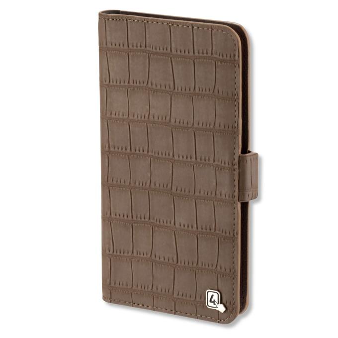 "Калъф за телефони до 5,2"", отваряем, еко кожа, 4smarts Ultimag Book Norwalk Croco, кафяв image"