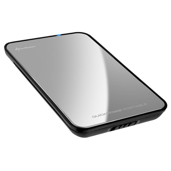 """Кутия 2.5""""(6.35 cm), Sharkoon QuickStore Portable, за 2.5"""" SATA I/II/III SSD/HDD, USB 2.0, метална, черна/сребриста image"""