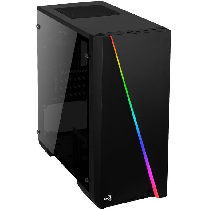 Кутия AeroCool Cylon Mini BG RGB, /Micro-ATX/Mini-ITX, USB 3.0, RGB, 1x 80mm вентилатор, прозорец от закалено стъкло, черна, без захранване image