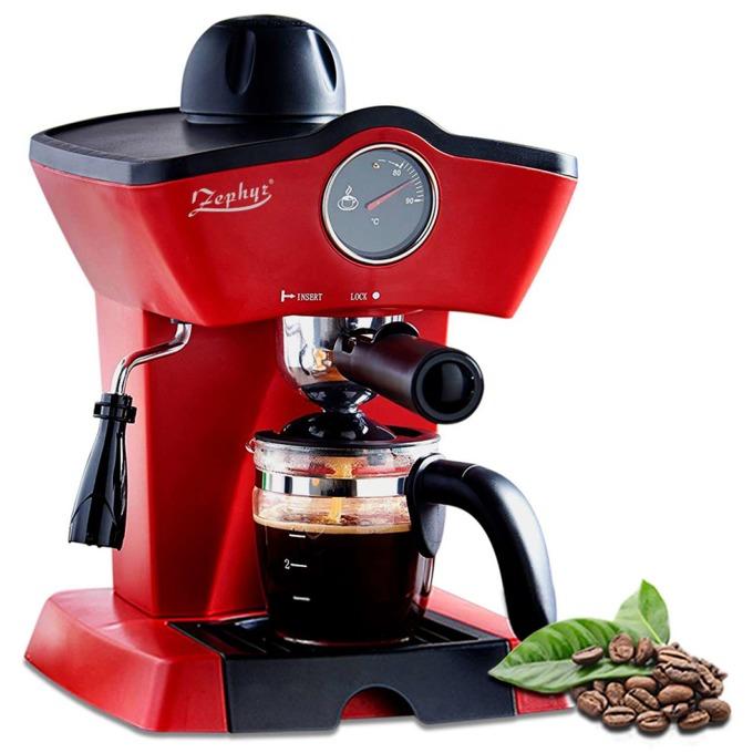 Ръчна еспресо машина ZEPHYR ZP 1171 H, 800W, 5 bar, филтър от неръждаема стомана, защита против прегряване, червена image