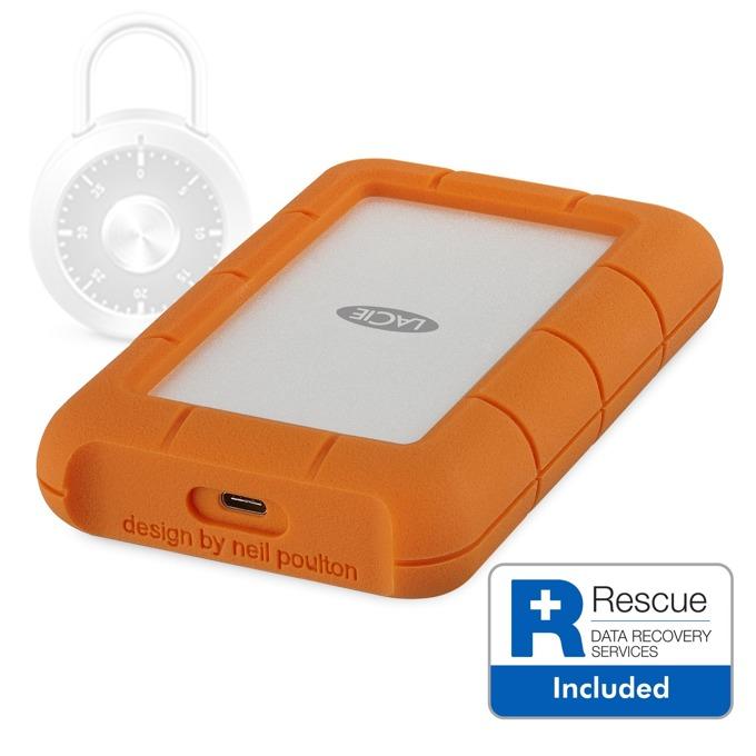"""Твърд диск 2TB, LaCie Rugged Secure STFR2000403 (оранжев), външен, 2.5"""" (6.35 cm), удароустойчив, USB Type C image"""