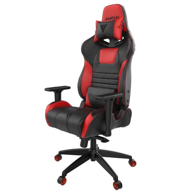 Геймърски стол Gamdias Achilles M1A-L, кожа, до 200kg, черен/червен image