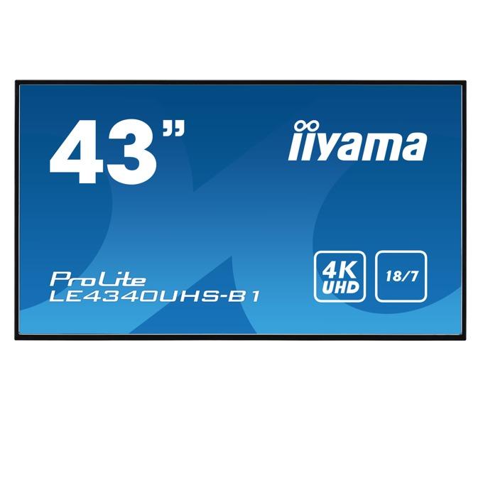 """Публичен дисплей Iiyama LE4340UHS-B1, 42.5""""(108.0 cm) 4K UHD AMVA3 LED, VGA, DVI, HDMI, RS232, LAN, USB image"""