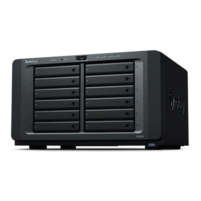 "Мрежови диск (NAS) Synology FlashStation FS1018, двуядрен Broadwell Intel Pentium D1508 2.2/2.6GHz, без твърд диск(12x 2.5"" SATA SSD), 8GB DDR4 ECC SO-DIMM, 4x LAN1000, 2x USB A 3.0, 2x expansion ports image"