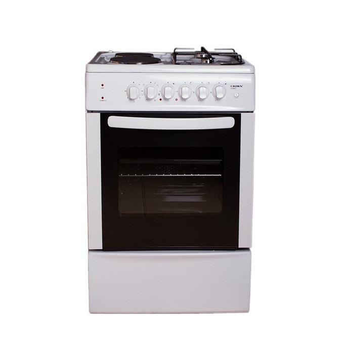 Готварска печка Crown CR-5050V, клас A, 4 нагревателни зони (2 електрически, 2 газови), 48 л. обем на фурната, 6 функции на фурната, бяла  image