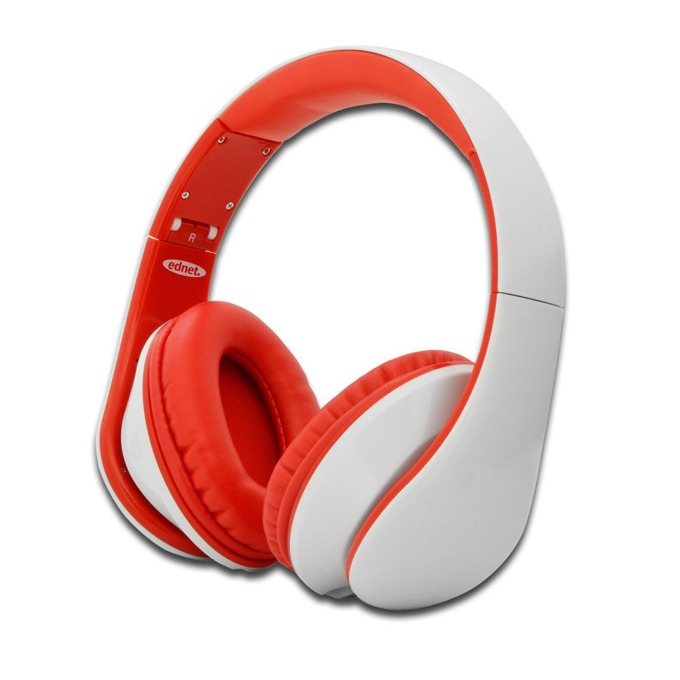 Слушалки Ednet 83056, микрофон, 40мм говорители, дълбок бас, 3.5мм жак, бели image