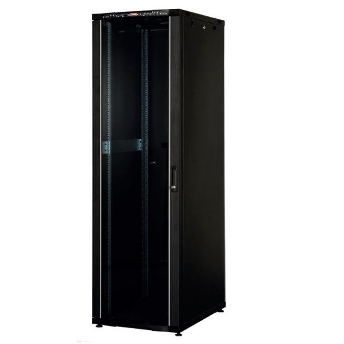 """Комуникационен шкаф Lande LN-CK36U6010-BL, 19"""", 36U, 600 x 1000 мм, стъклена врата, LCD термометър, черен image"""