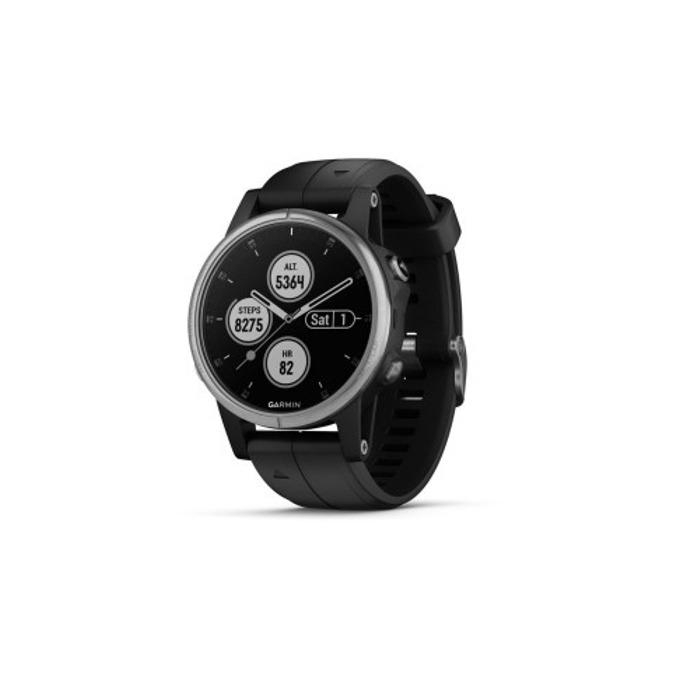 """Смарт часовник Garmin fēnix 5S Plus, 1.2"""" (3.4 cm) LED дисплей, Wi-Fi, Bluetooth, GPS, водоустойчив, силиконова каишка, черен image"""