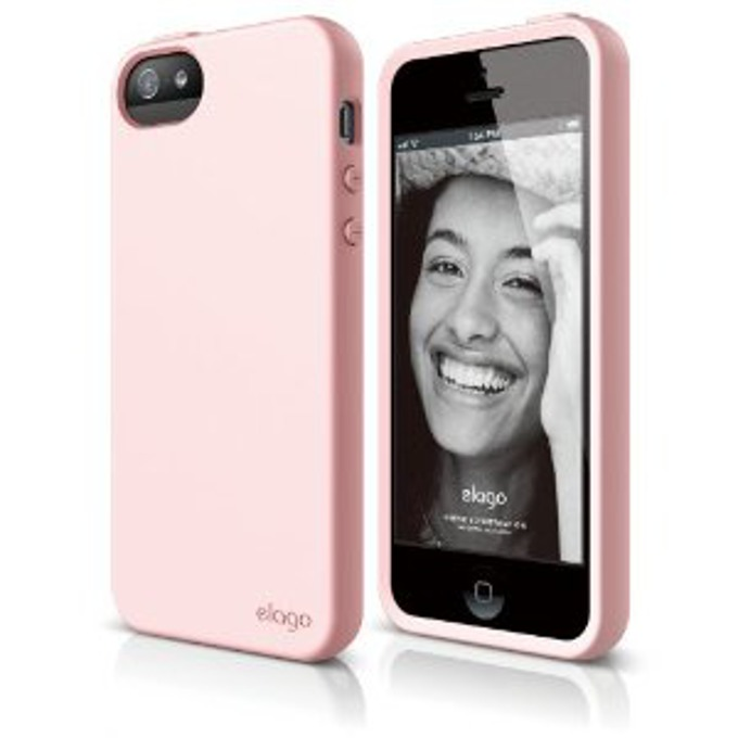 Силиконов протектор Elago S5 Flex Case + HD Clear Fil за iPhone 5, iPhone 5Sm, розов, HD покритие image