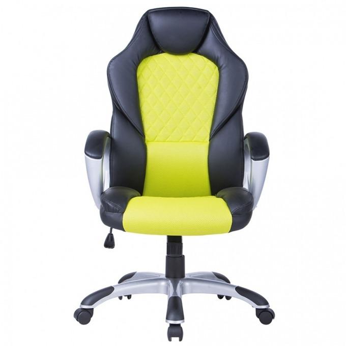 Геймърски стол Viking, еко кожа, дамаска, Ергономична форма, черен/зелен image