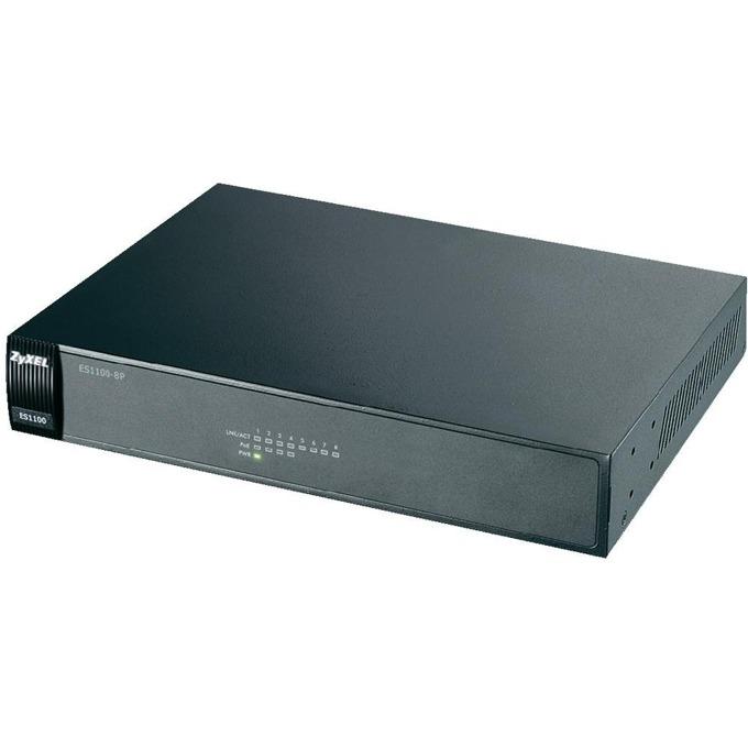 Суич ZyXEL ES1100-8P, 100Mbps, 8 ports, PoE image