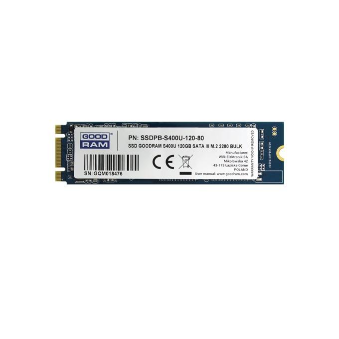 SSD 120GB Goodram S400u SSDPR-S400U-120-80, SATA 6Gb/s, M.2 2280, скорост на четене 550 MB/s, скорост на запис 530MB/s image