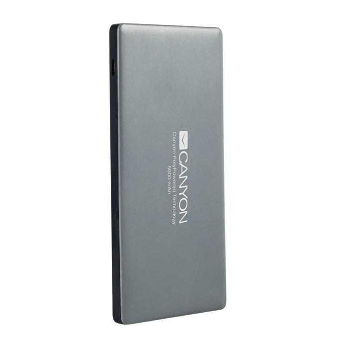 Външна батерия/power bank/ Canyon CNS-TPBP5DG, 5000mAh, 2x USB, Lightning, сива image
