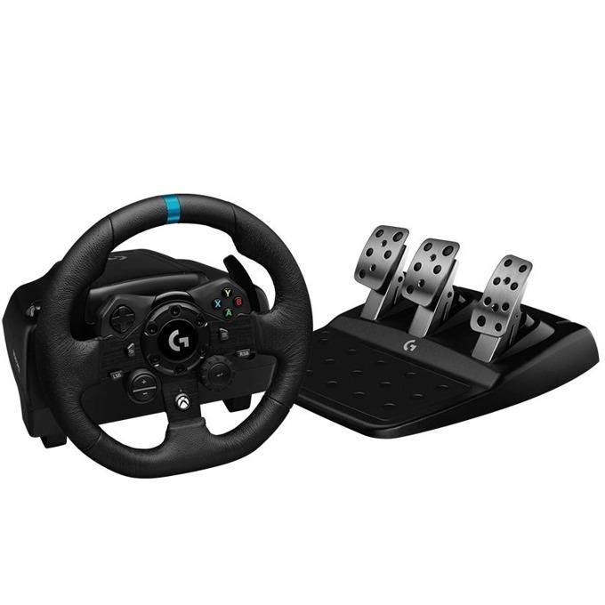 Волан с педали Logitech G923 (941-000158), USB, черни/сиви, за Xbox Series X/S, Xbox One, PC image