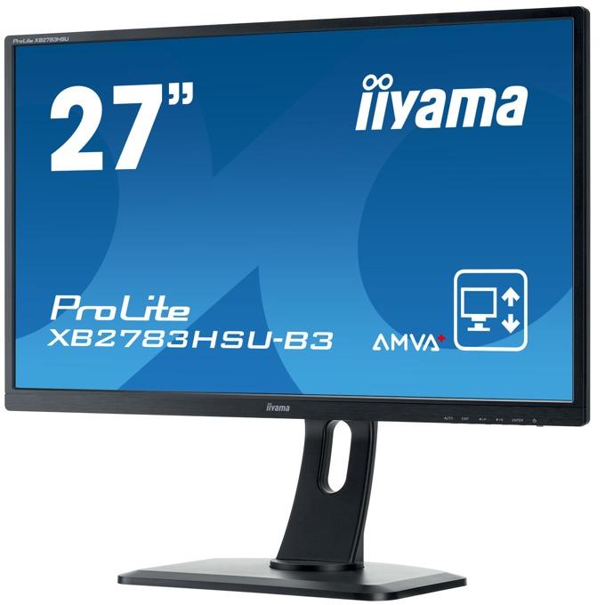 "Монитор Prolite IIYAMA XB2783HSU-B3, 27"" (68.58 cm), AMVA+ панел, 4ms, 80000000:1, 300 cd/m2, Display Port, HDMI, DVI, VGA  image"