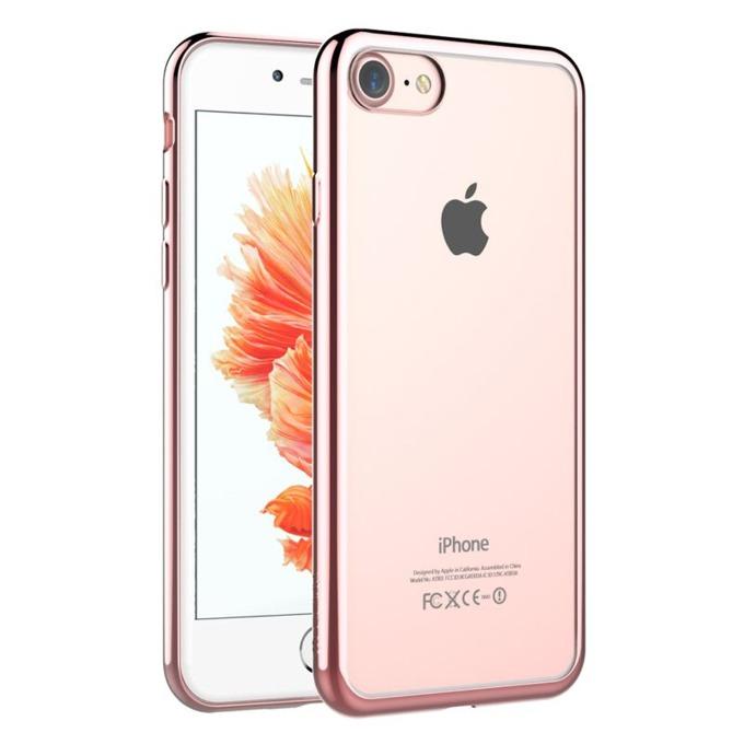 Калъф за Apple iPhone 7+, страничен протектор с гръб, термополиуретан, Devia Glitter Soft, розово image