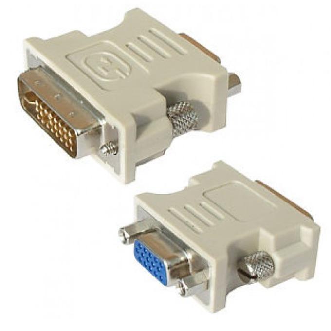 Преходник DeTech, от DVI(м) към VGA(ж), бял image