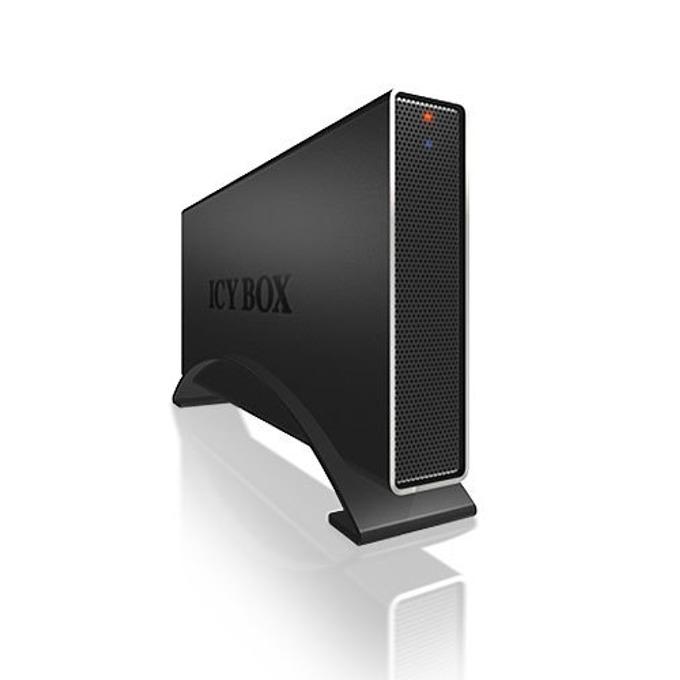 """Кутия 3.5"""" (8.89 cm), RaidSonic IB-318StUS2-B, за 3.5"""" SATA2 HDD, алуминиев корпус, черна image"""
