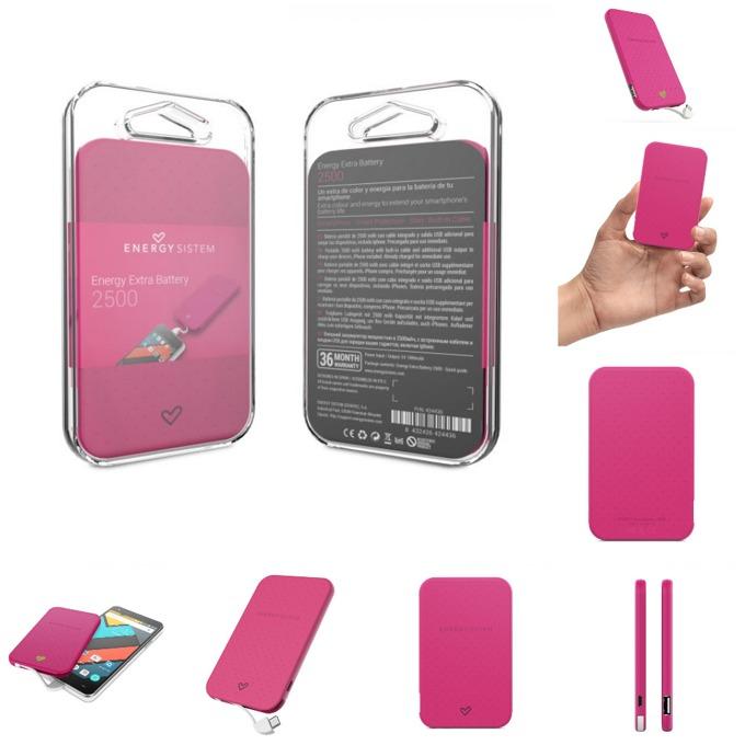 Външна батерия/power bank/ Energy Sistem Portable Battery Fuchsia, 2500 mAh, маджента, LED индикатор за зареждане image