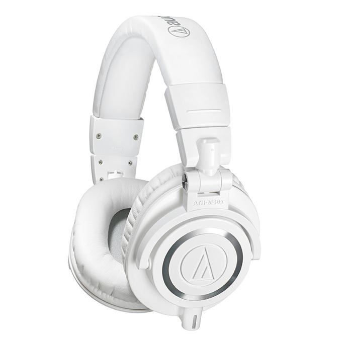 Слушалки Audio-Technica ATH-M50XWH, за професионален мониторинг, 45мм говорители, 15-28kHz, 99 dB, сваляем кабел, сгъваеми, бели image