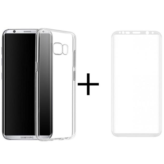 Комплект стъклен протектор + калъф Remax Crystal, за Samsung Galaxy S8 Plus, бял image