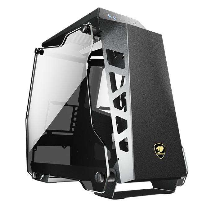 Кутия Cougar Conquer Essence, mATX/Mini-ITX, 2x USB 3.0, странични прозореци от закалено стъкло, отворен дизайн, черна, без захранване image