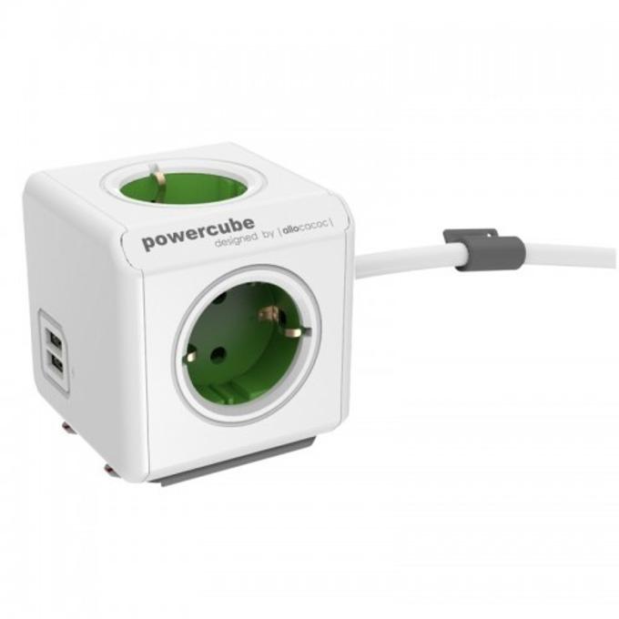 Разклонител Allocacoc PowerCube 1402GN, 4x щепсела, 2x USB, 1.5 m, зелен image