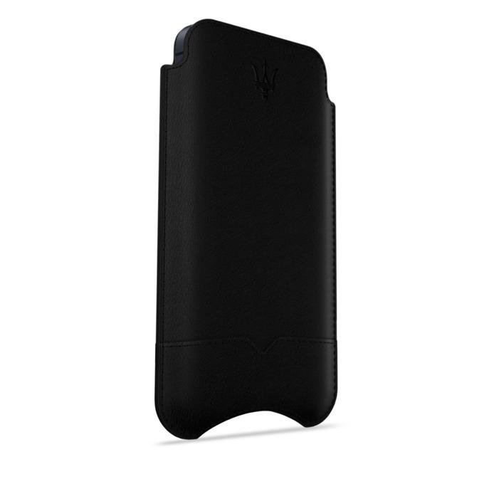 Калъф за Apple iPhone 5/5S/SE, джоб, кожен, Beyza, Maserati Stile black, черен image