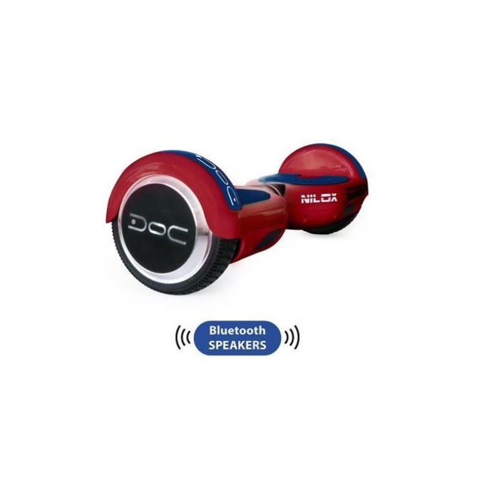 Ховърборд Nilox DOC Plus Red, до 10км/ч скорост, 20км макс. пробег, до 100кг, 2x 240W двигатели, Bluetooth 2.1 говорители, червен image