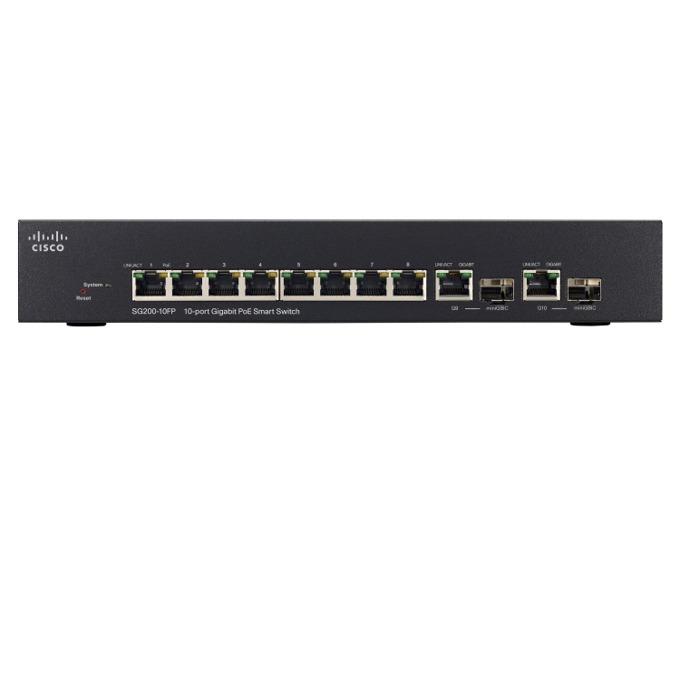 Суич Cisco SG200-10FP, 10 ports 1000Mbps, 2 dual personality, PoE image