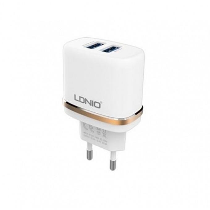 Зарядно устройство(адаптер) LDNIO DL-AC52 SS000074, 220V/2.4A, 2x USB A(ж), бял image