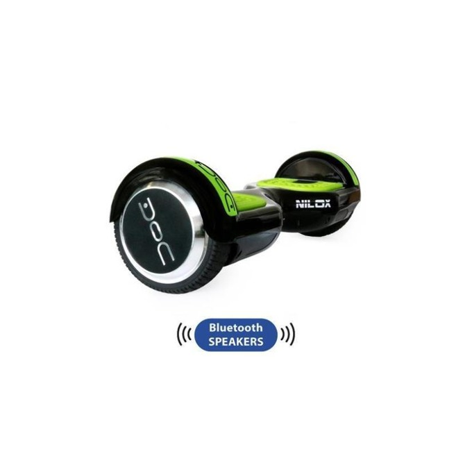 Ховърборд Nilox DOC Plus Black, до 10км/ч скорост, 20км макс. пробег, до 100кг, 2x 240W двигатели, Bluetooth 2.1 говорители, черен-зелен image