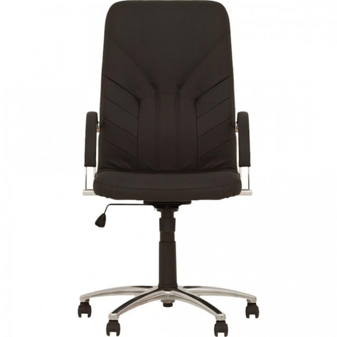 Директорски стол Manager Steel, естествена кожа, люлеещ механизъм , черен image