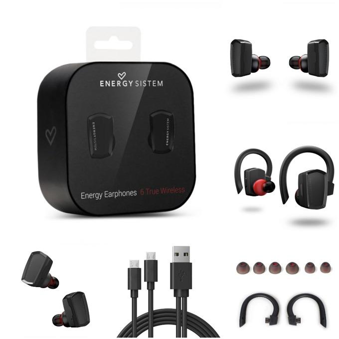 Слушалки Energy Sistem Earphones 6 True Wireless, безжични, микрофон, Bluetooth, до 5 часа с едно зареждане, черни image
