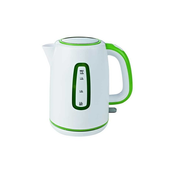 Електрическа кана Finlux FK-17228W, 1.7 литра, 2200W, въртене на 360°, бяла-зелена image
