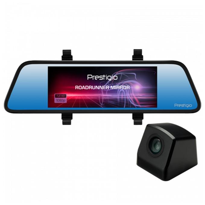 "Видеорегистратор Prestigio RoadRunner Mirror, камера за автомобил, FullHD, 6.86""(17.42 cm) TFT Touchscreen дисплей, MicroSD слот, 120° ъгъл на виждане, нощно виждане, микрофон, черна image"