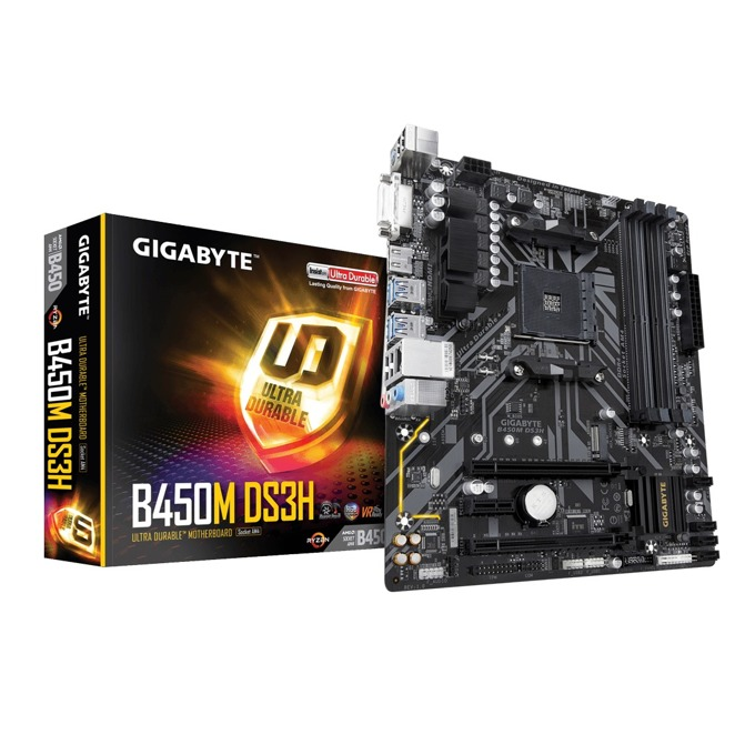 Дънна платка Gigabyte B450M DS3H rev. 1.0, B450, AM4, DDR4, PCI-E (HDMI&DVI)(CF), 4x SATA 6Gb/s, 1x M.2 Socket, 4x USB 3.1 Gen 1, microATX image
