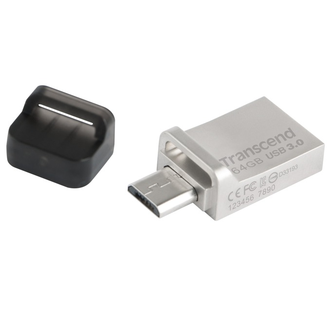 Памет 64GB USB Flash Drive, Transcend JetFlash 880, OTG USB 3.0, сива image