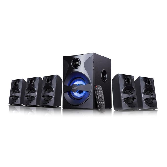Тонколони Fenda F&D F3800X, 5.1, 80W (5x10W + 1x30W), Bluetooth/USB/RCA, черни, четец за карти, радио  image