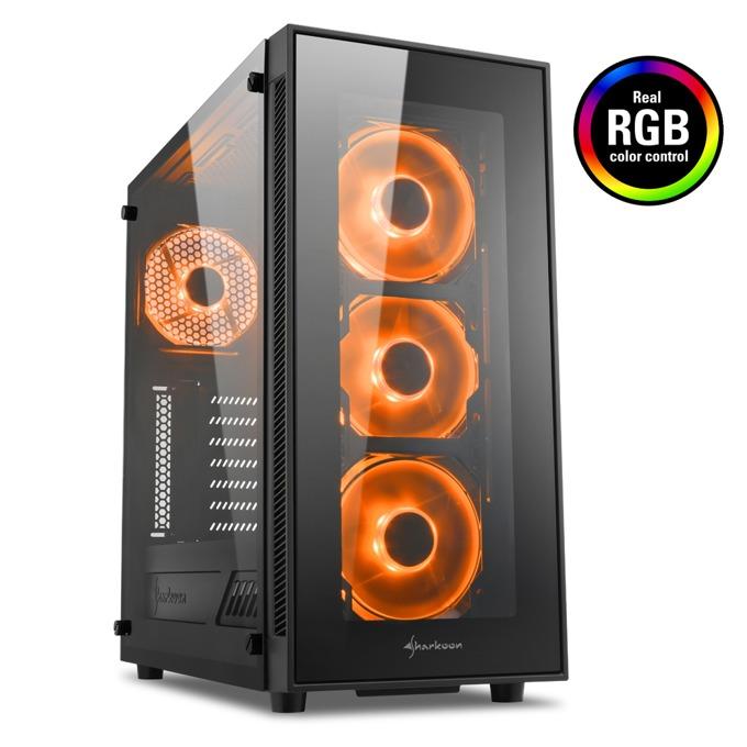Кутия Sharkoon TG5 RGB, ATX/Micro-ATX/Mini-ITX, 2x USB 3.0, прозрачен капак, RGB вентилатори, черна, без захранване image