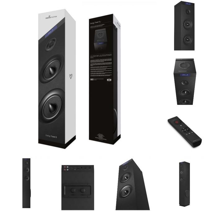 Тонколона Energy Sistem Energy Tower 8 G2, 2.1, черна, Bluetooth, MP3, FM, USB image